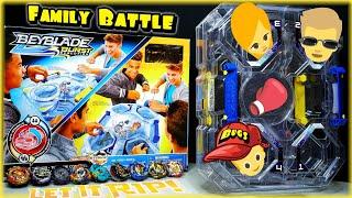 Beyblade Burst 3 WAY FAMILY BATTLE in Hasbro's 2 Level Beyblade BATTLE TOWER STADIUM! Beyblade TOYS