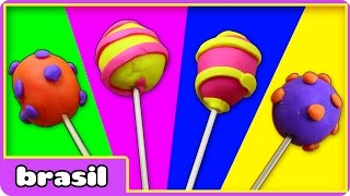Pirulitos de Massinha |  Play doh Lollipops | Play doh Videos by HooplaKidz Brasil