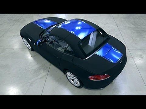 Car Wrap Blue Chrome Vinyl And Black Matt Nubuck Apa