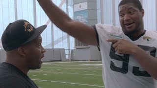 Calais Campbell Demonstrates How to Get Low when you are LARGE, & Reveals Why His Voice is so Unique