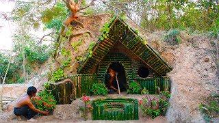 Build Beautiful Secret House Underground Using Bamboo
