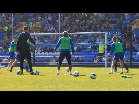 Everton FC players take part in open training session at Goodison Park