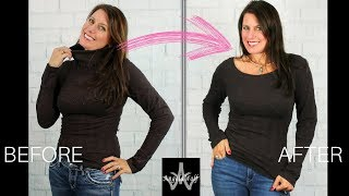 UPCYCLING CLOTHES DIY PROJECT: DESIGN A BOAT NECK TOP FROM A TURTLENECK