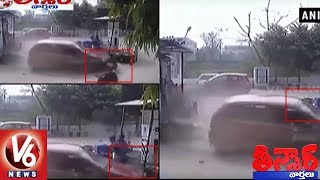 Caught On Camera: Man Hit By Car At Petrol Pump In Uttar Pradesh | Teenmaar News