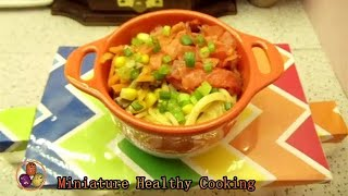 Miniature healthy cooking/Smoked Salmon Spaghetti With Cheese/芝士烟熏三文鱼意大利面/Food/Mini Kitchen/ASMR
