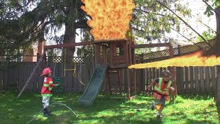 FIRE FIRE Explosion in the play house - Kid Fireman