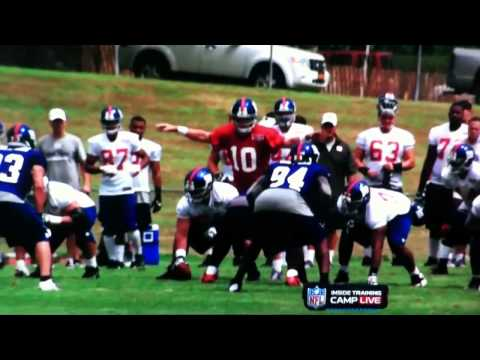 Victor Cruz makes sick catch in training camp 2012....