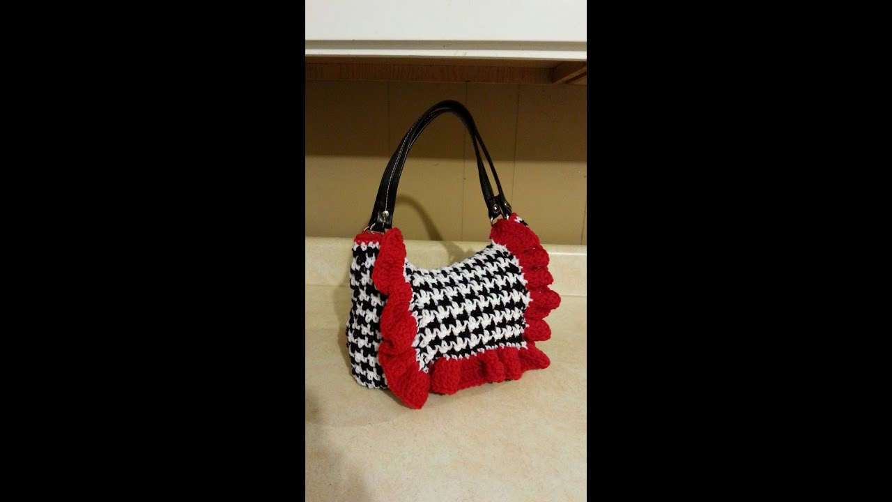 Crochet Bags And Purses Tutorial : Crochet Houndstooth Stitch Handbag Purse #TUTORIAL - YouTube