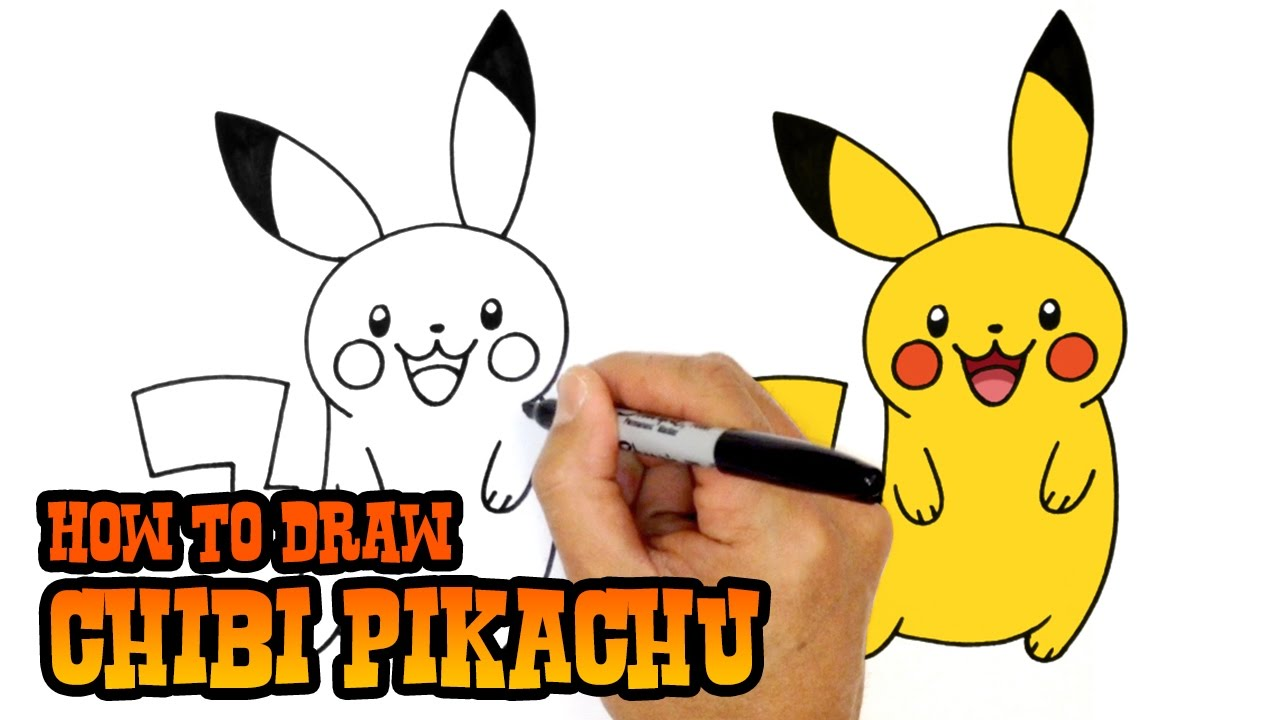 Pikachu with hat drawing step by step