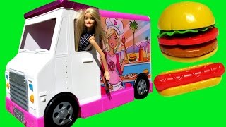 FOOD Truck ! ELSA & ANNA toddlers & Barbie - KETCHUP everywhere -dogs Burgers Pizza Sandwich