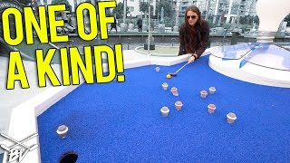 THE WORLD'S BEST MINI GOLF COURSE! DOUBLE MINI GOLF HOLE IN ONE AND INSANE HOLES!