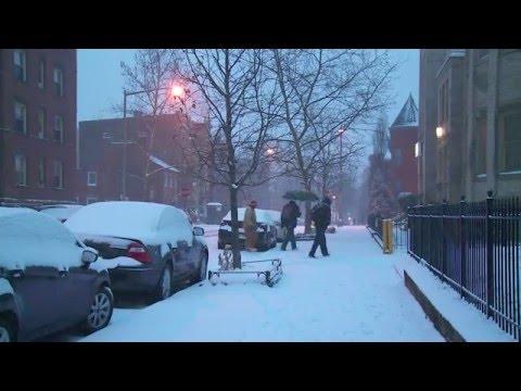 Snow in Washington D.C. evening 22. January 2016 Blizzard Warning