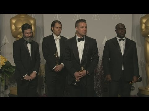 Oscars 2014 Winners Room: Brad Pitt jokes about picking up dog poo before the Oscars