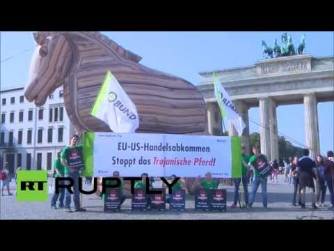 Huge Trojan horse protests EU-US trade deal in Germany