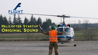 Helicopter Startup with Original Sound - Agusta Bell 212 Twin Huey of Italian Police in 4K UHD
