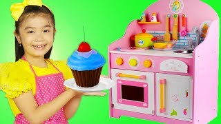 Hana Pretend Play Fun Cooking with Giant Pink WOODEN Kitchen Toy for Girls