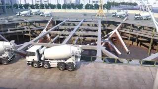 Super high - rise commercial complex floor concrete pouring construction animation