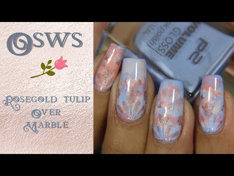 OSWS: Rose gold tulip stamped over coral marble
