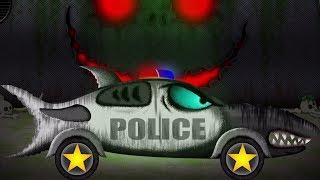 Tubarão carro policial formação | carro garage | veículos para crianças | Shark Police Car Formation