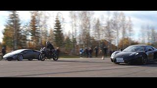 [4k] McLaren MP4-12C Spider vs Lamborghini Huracan LP610-4 vs Kawasaki Ninja H2