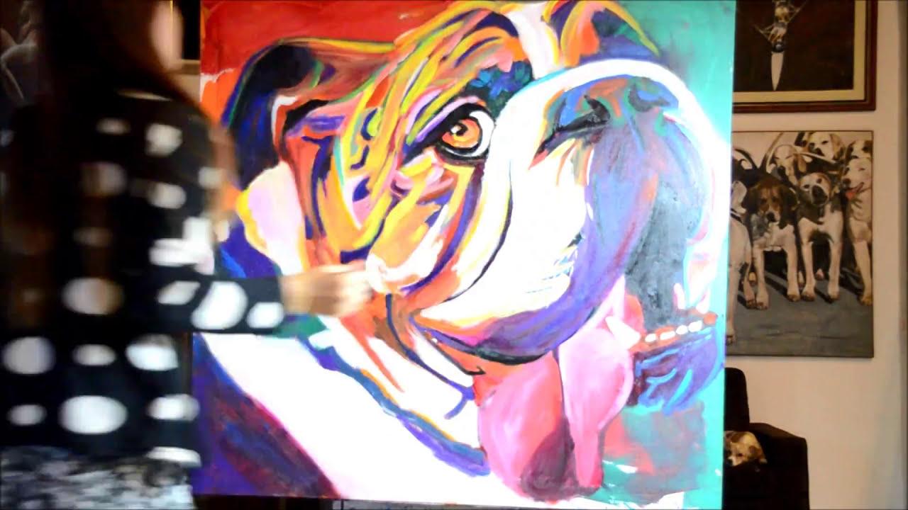 Bulldog ingles pintura acrilica youtube - Pintura acrilica pared ...
