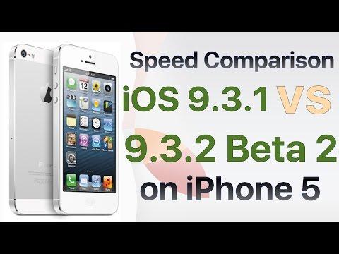 iPhone 5 iOS 9.3.1 vs iOS 9.3.2 Beta 2 / Public Beta 2 Build #13F61 Speed Comparison