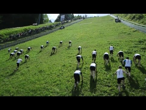 Mountain running race up a ski jump - Red Bull 400 Kulm 2013