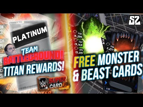 WWE SuperCard SEASON 4 - TITAN PLATINUM PACK OPENING! HOW TO GET FREE MONSTER & BEAST CARDS!