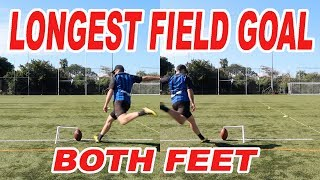WORLD RECORD! Longest Field Goal with both feet (20K Sub Special)