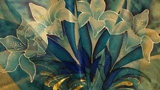 Silk art. Different kinds of silk and silk colors. Батик. Виды шелка,  красок и контуров.
