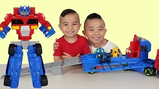 Transformers Rescue Bots Flip Racers Optimus Prime Race Track Unboxing Fun With CKN Toys