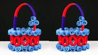 DIY Basket Craft Idea    How to Make Basket Best Out of Waste    DIY Crafts