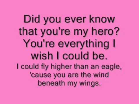 Wind beneath my wings with lyrics