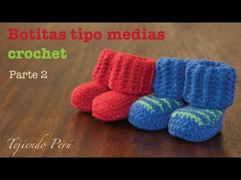 Botas tipo medias tejidas a crochet para bebes (Parte 2)