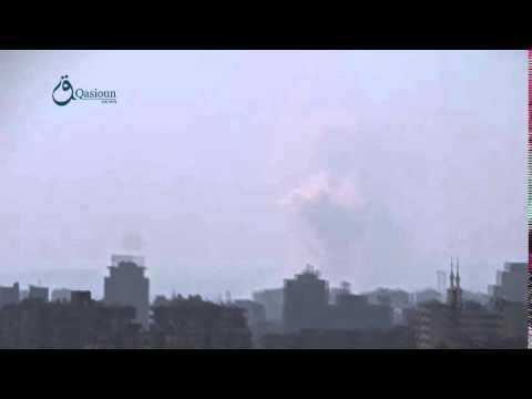 Qasioun News: Rif Dimashq: Dropping barrel bombs over Daraya city 13-2-2016