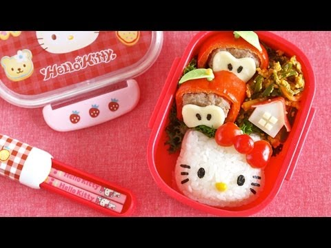 How To Make Hello Kitty Bento Lunch Box (kyaraben Recipe) キティちゃん弁当 (キャラ弁) video