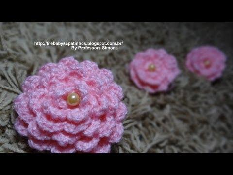 Flor para aplicação em Crochê com Pérola - Professora Simone