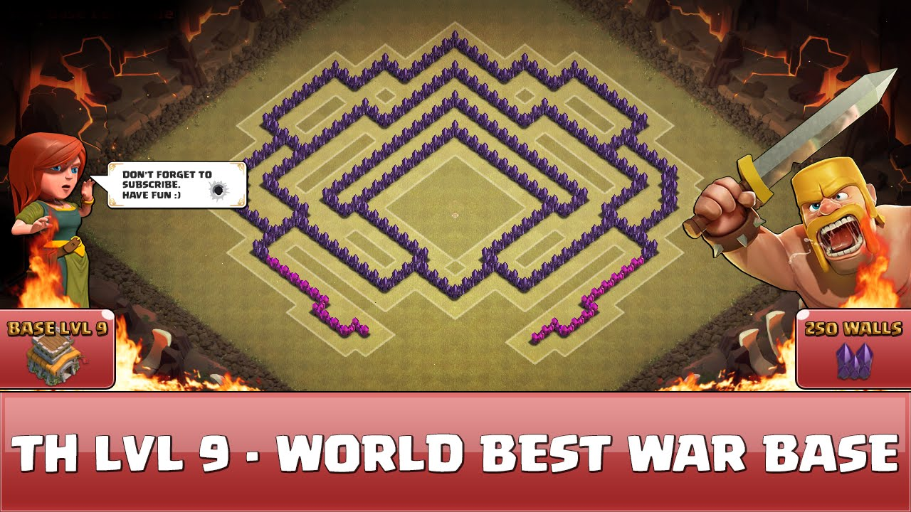 Clash of clans fun wall art th9 world best war base 1 youtube