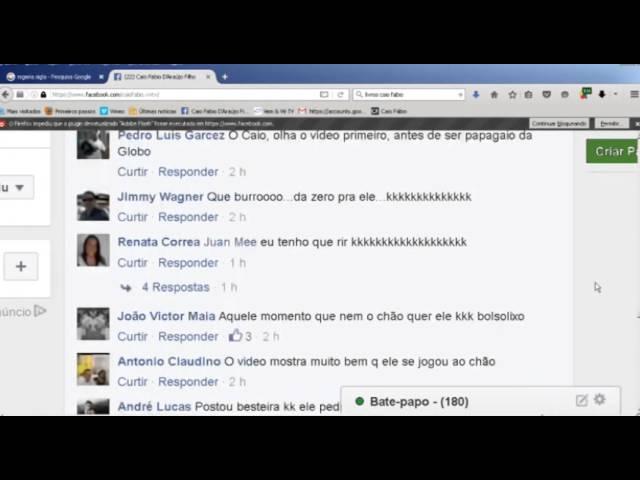 Caio exibe o mau humor e fanatismo dos comentaristas de Facebook, apoiadores de Baalsonazis.