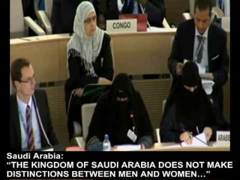 Saudi UN Delegates Defend Record on Women's Rights -- With Faces Masked