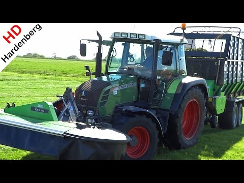 Mowing with Fendt 312 Vario TMS and Deutz-Fahr mower | Netherlands | 2015.