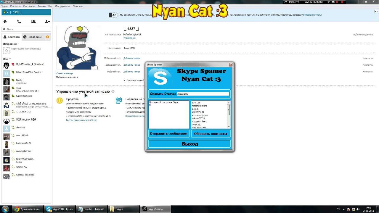 Елка и флудер для Skype. обзор плагина анти крипер. #1 Спамер Skype Как ра
