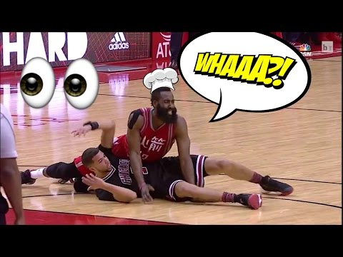 James Harden 3 Point Drawing Foul Technique : James Harden Flop Foul Compilation