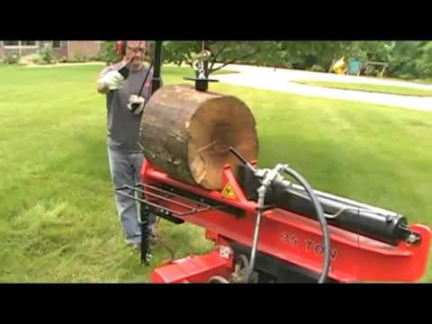 Demo log splitter log lift attachment design with log table wedge review