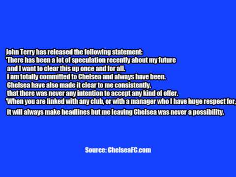 John Terry's Statement on his Chelsea FC future! To Stay At Chelsea Video