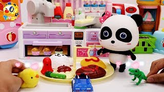 Baby Panda Pretend Play Cooking Food Toys | Kitchen Play Set | Super Rescue Team | Play Doh | ToyBus