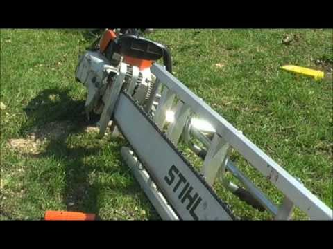 Chainsaw milling large walnut with Stihl 090 and 48