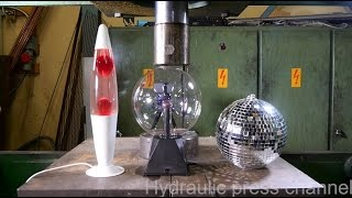 Crushing lava lamp and plasma lamp with hydraulic press