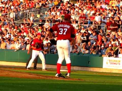 Stephen Strasburg pitches in Syracuse before moving to Washington Nationals baseball team.