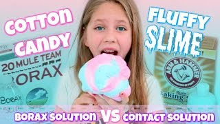 Cotton Candy FLUFFY SLIME DIY Borax Solution vs Contact Solution Recipes for Fluffy Slime Hope Marie